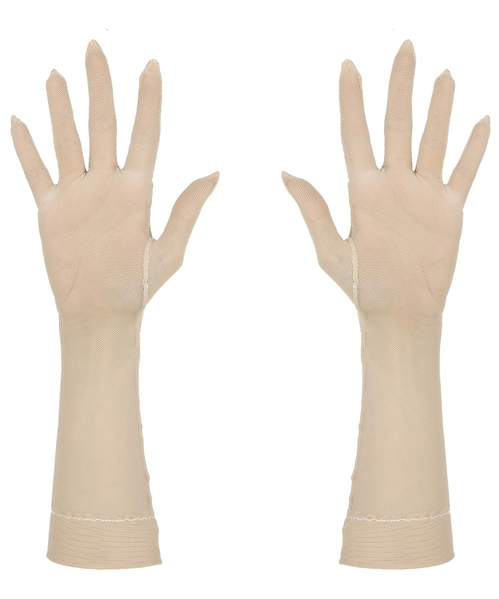 Sheer beige tight-fitting wrist gloves, made of a durable 4-way-stretch mesh fabric.