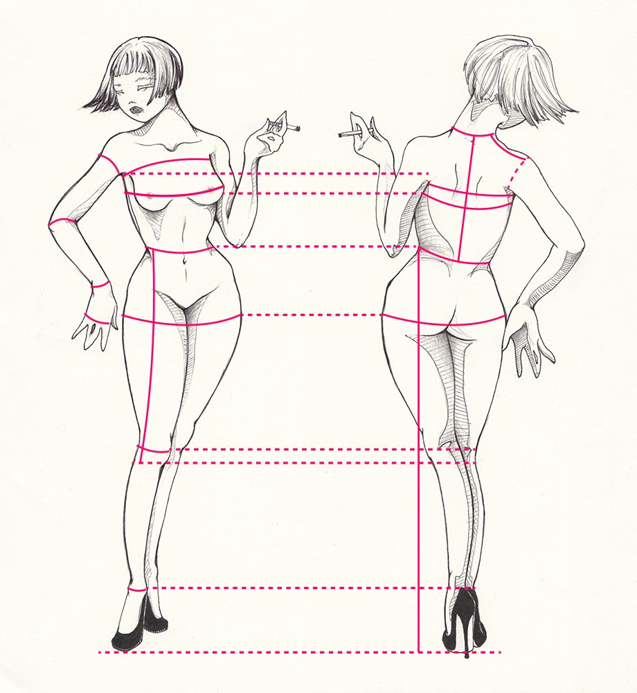 A drawing of a nude woman, with an overlaying graphic, assisting users in learning how to take their own body measurements for dressmaking and made-to-measure clothes.