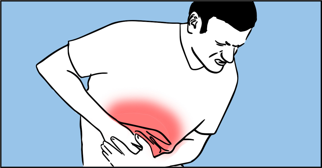 Person in pain from an inflammatory disease