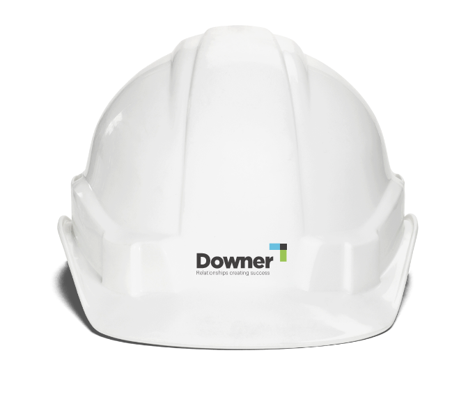 A hard hat with a Downer logo on the front.