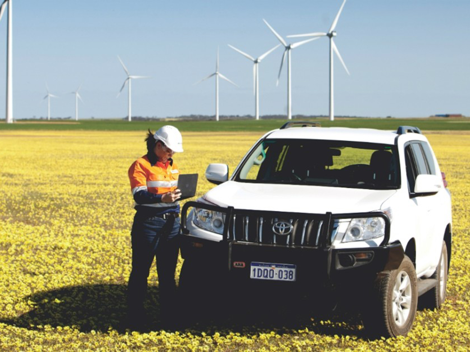 A Downer employee on site at a Wind Farm.