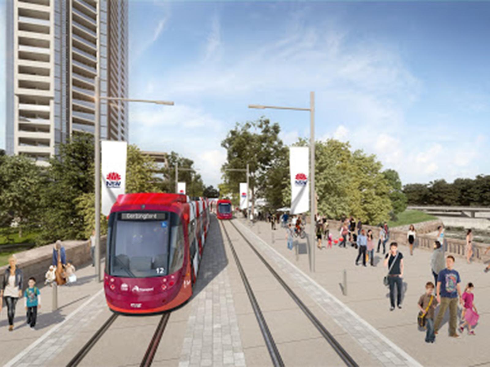 A render of the Parramatta Light Rail project.