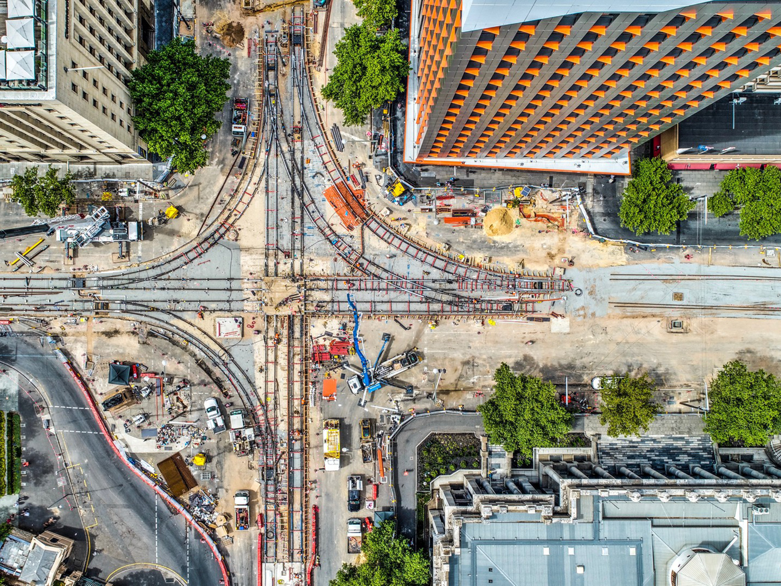 Aerial view of construction on the Adelink City Tram Extension.