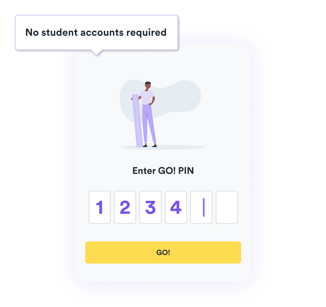A product shot of where students enter a PIN to access