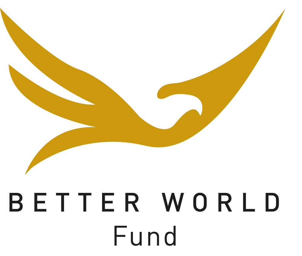 Official logo of BetterWorld Fund. A gold bird symbole of freedom