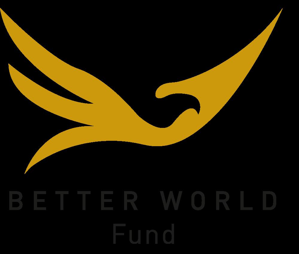 Official logo of BetterWorld Fund. A gold bird symbole of freedom