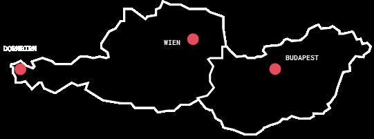 Standorte in Wien, Dornbirn und Budapest