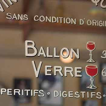 French bar window sign