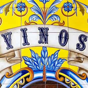 Ceramic tiles spelling vinos