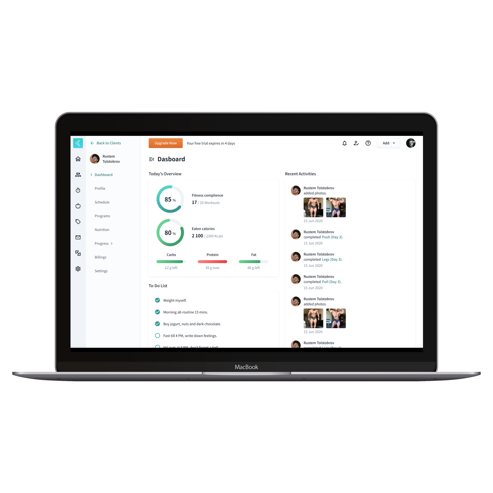 WeStrive laptop client dashboard for trainers