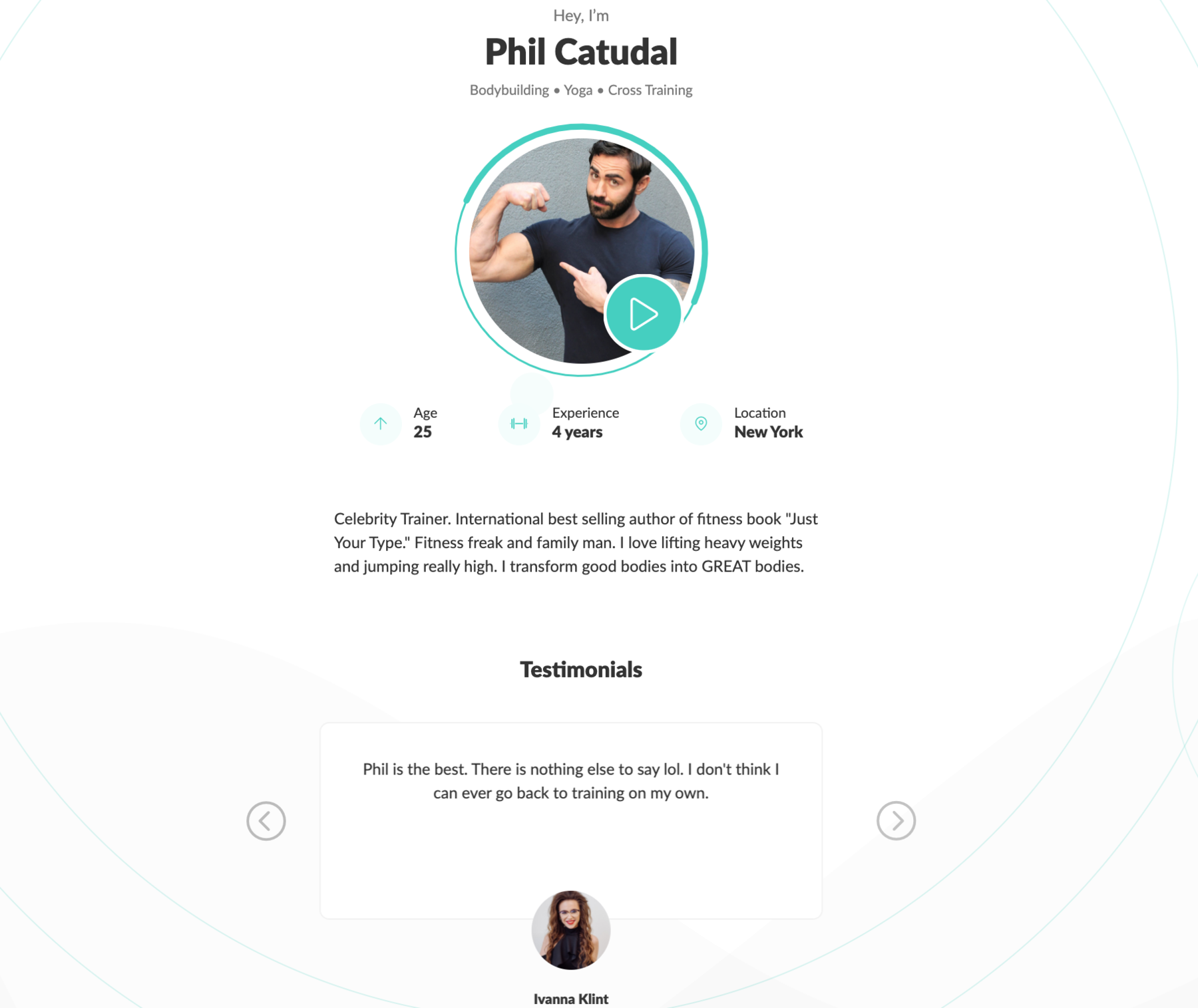 WeStrive personal trainer landing page