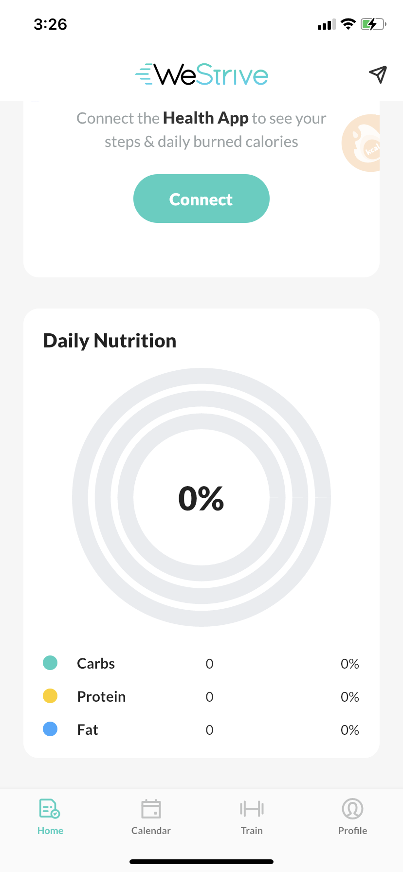 WeStrive App home page with nutrition data