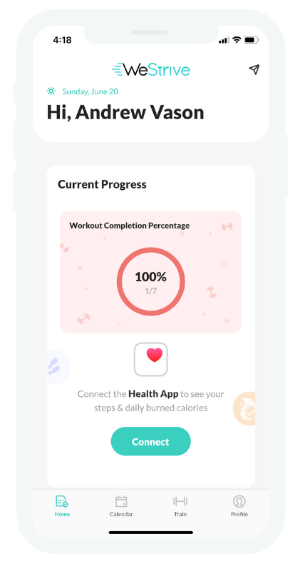 WeStrive App sync up with Apple Health - 4