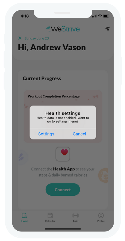 WeStrive App sync up with Apple Health - 2
