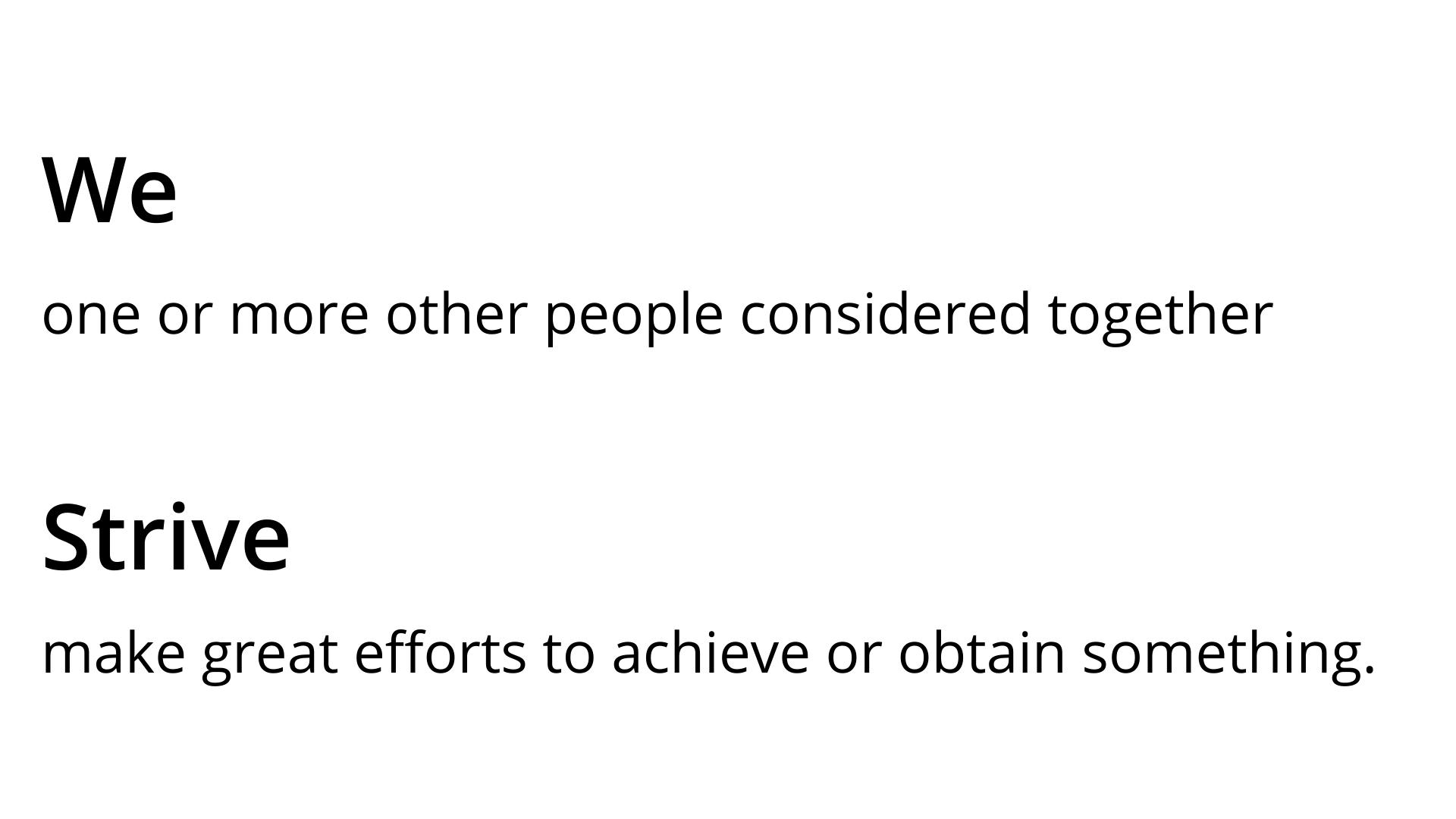 WeStrive definition