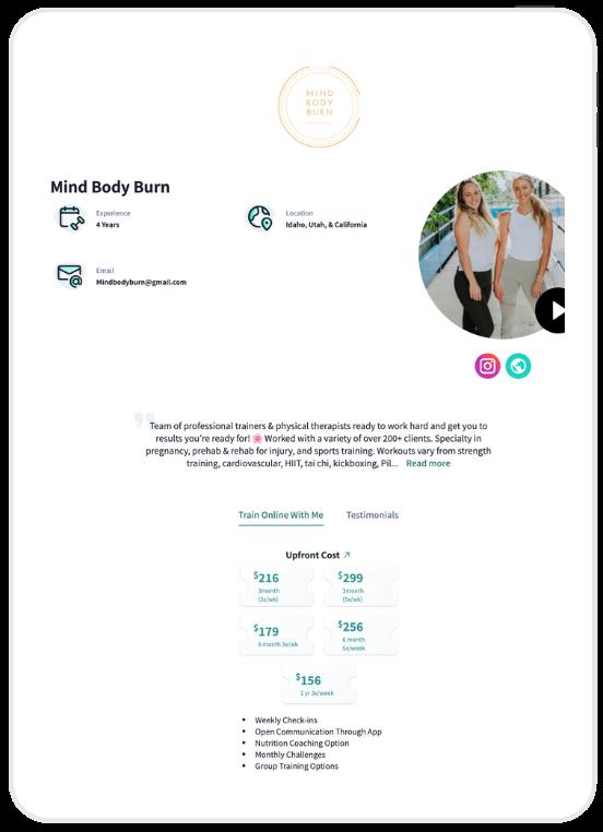 Torra with Mindbodyburn personal training on WeStrive landing page