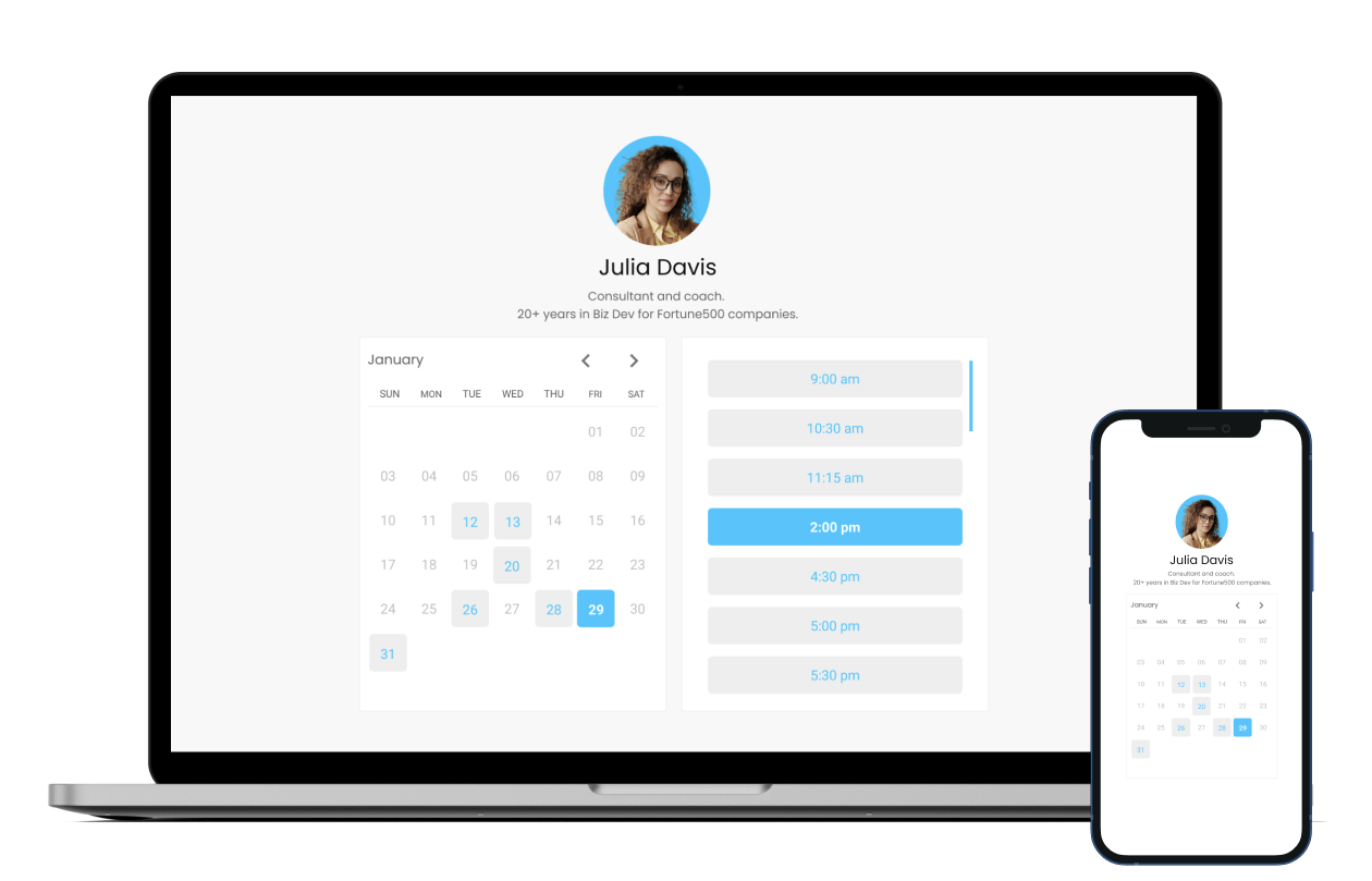 Desktop and mobile screen showing MeetFox scheduling and calendaring software