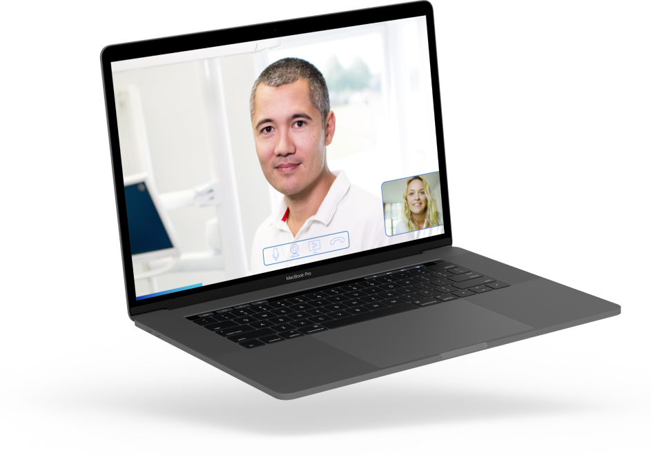 Floating computer depicting two people having a video call