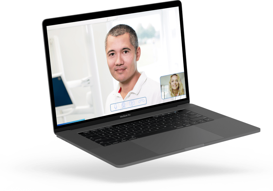 Floating laptop showing a video call