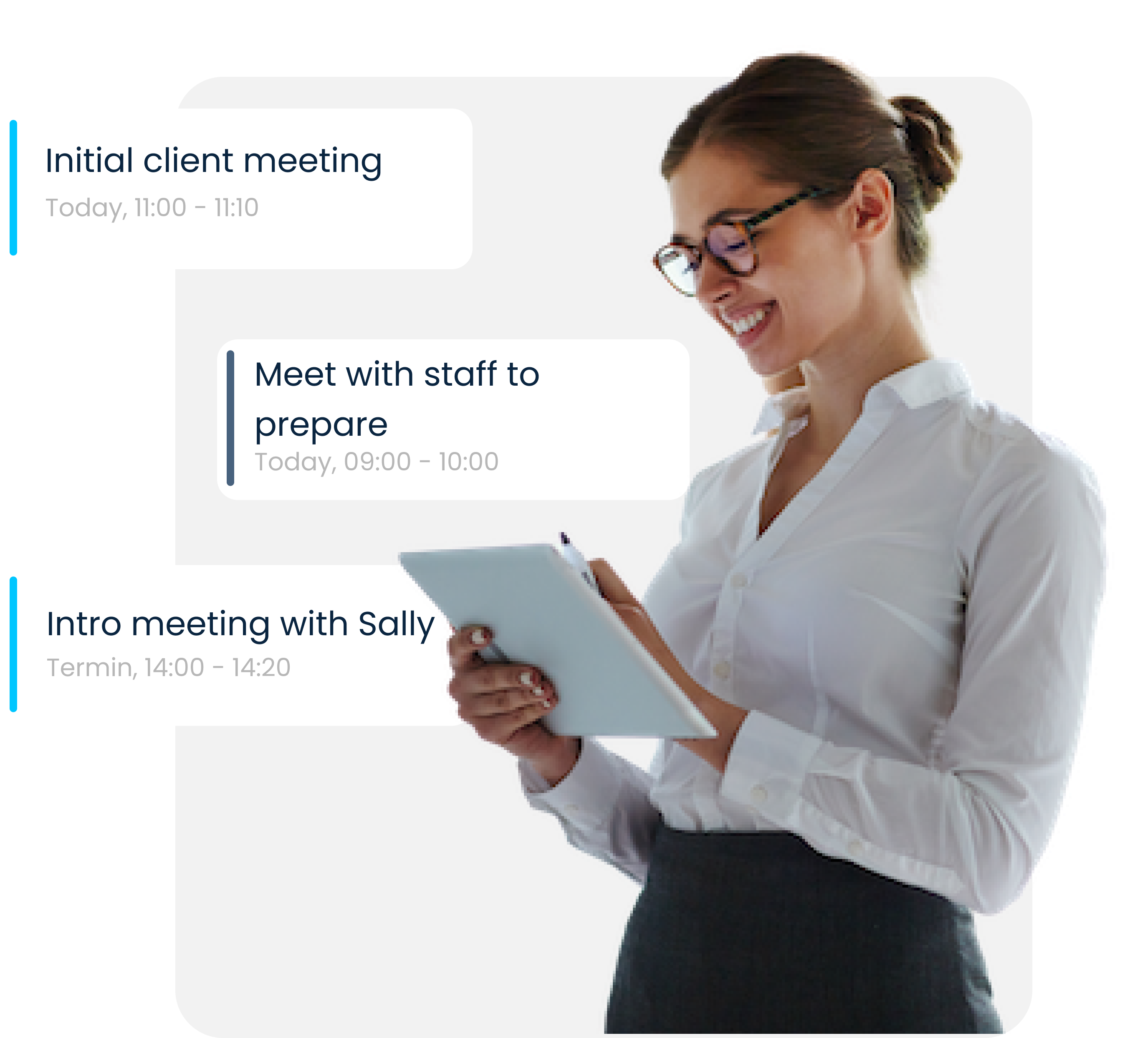 A financial advisor organizing her schedule with an online booking solution to meet with her clients