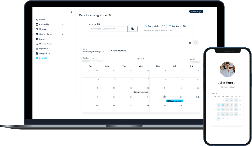MeetFox Live on-boarding for business desktop and mobile dashboard
