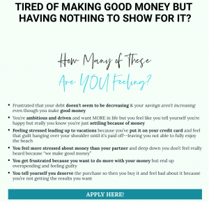 Sample of marketing material extracted from a financial coach's website