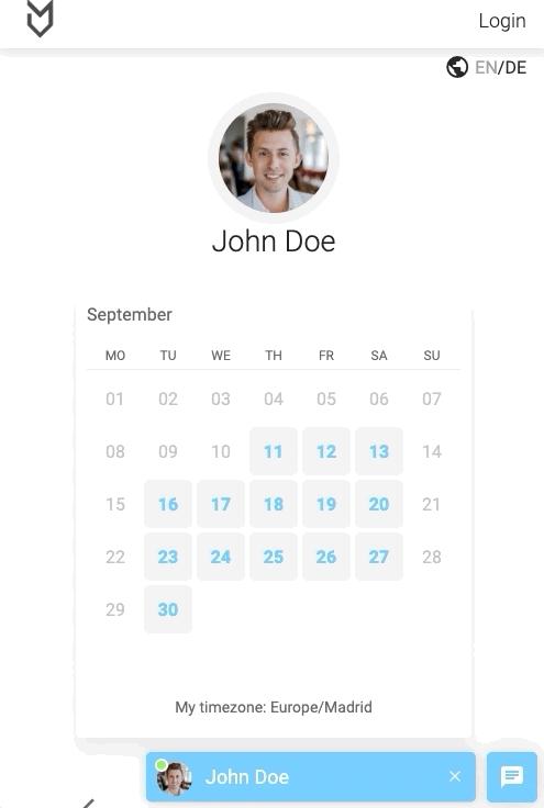 MeetFox booking calendar