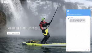 Sports gear company landing page with a live chatbot
