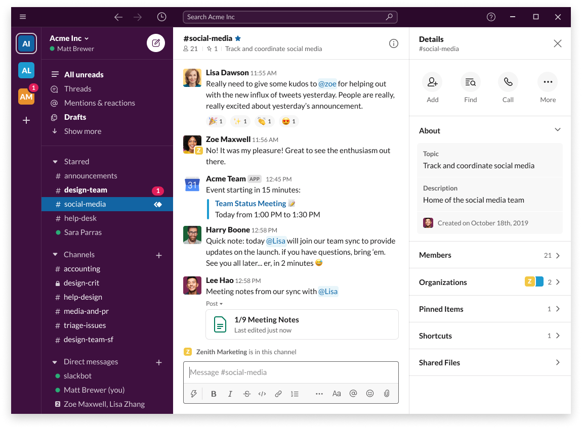 Slack communication tool helps teams to move away from email and communicate more efficiently and effectively with their software solution