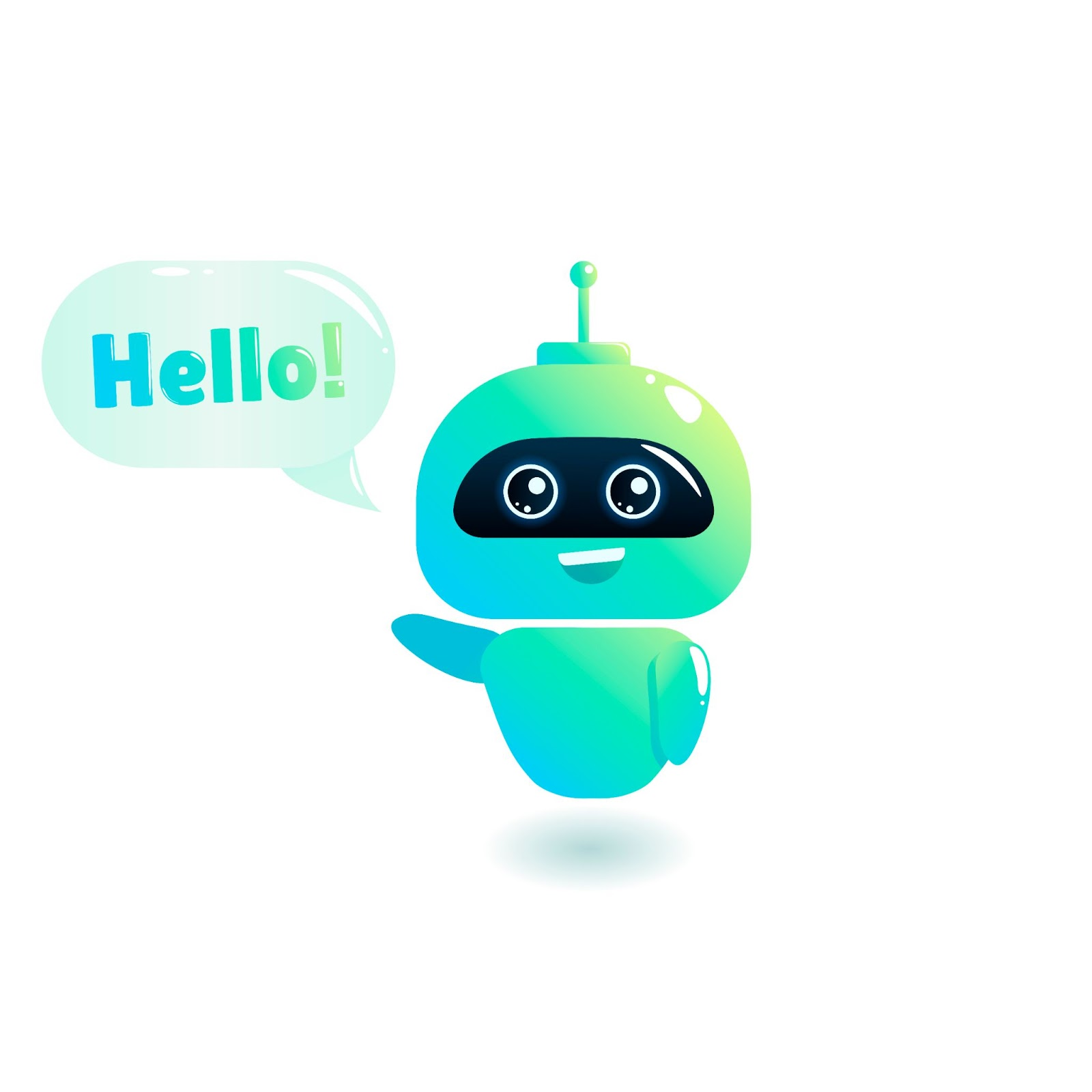 Chatbot saying Hello with a green and blue tint
