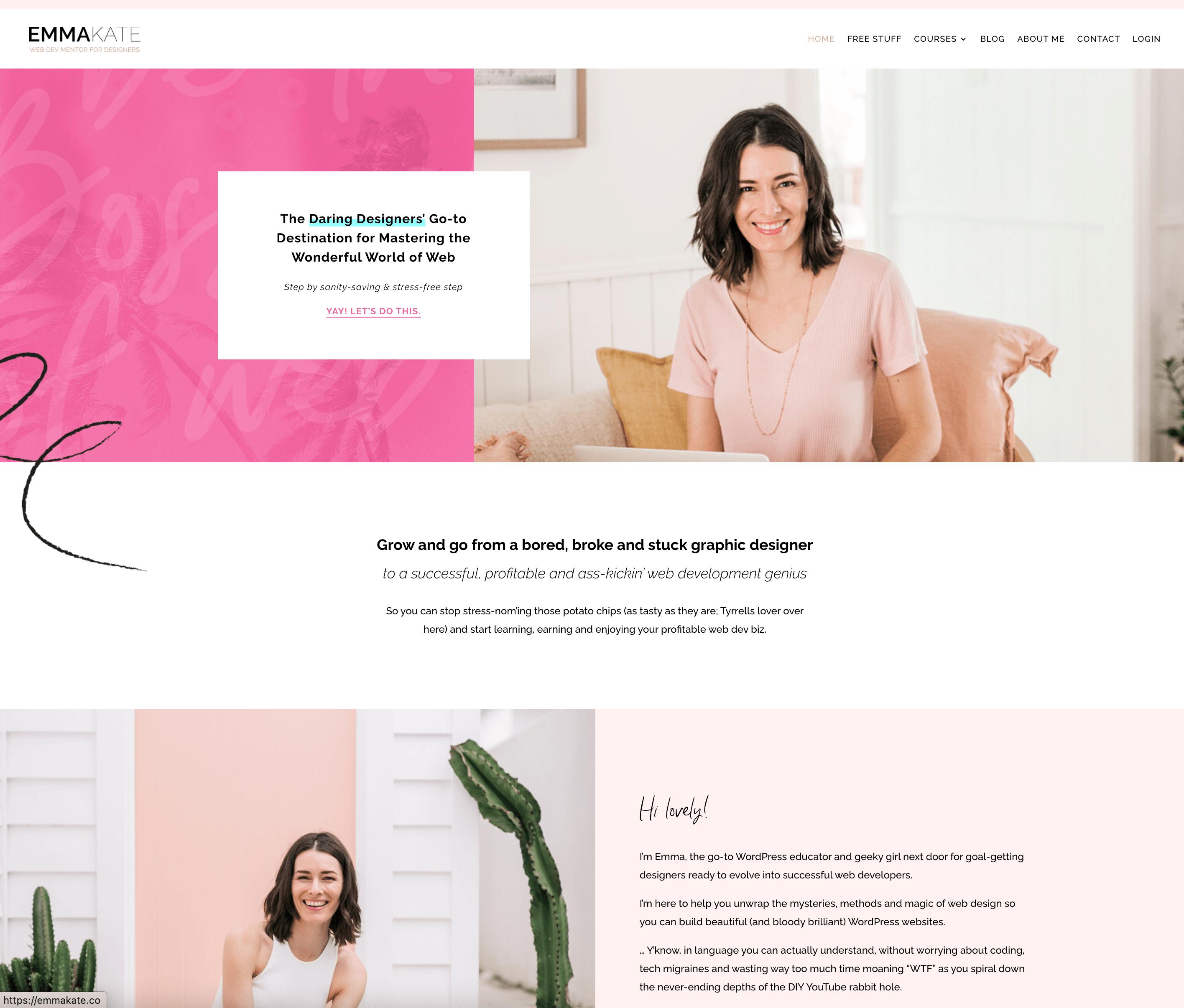 Landing page screenshot of emmakate.co