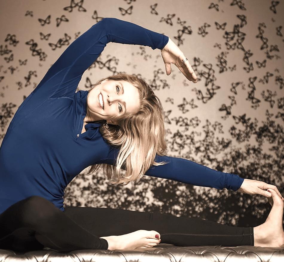 Woman doing stretching yoga pose