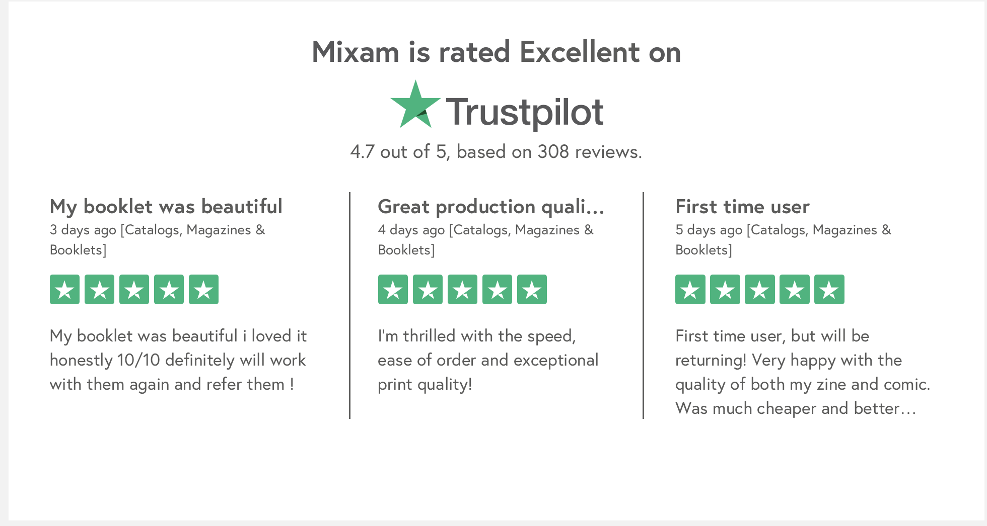 Mixam Trustpilot review increase conversion rate