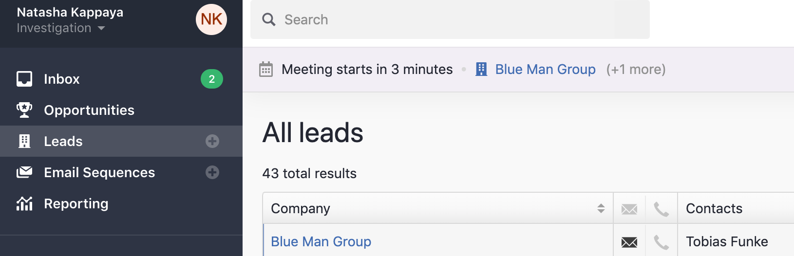 Meeting reminders in Close CRM