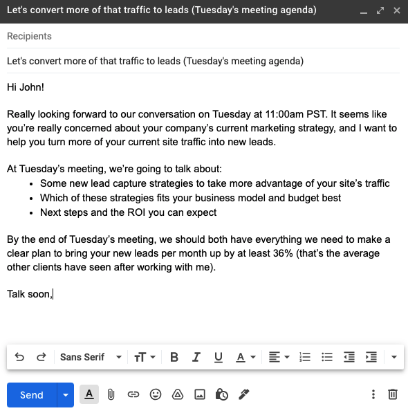 A brief agenda email example to book better sales meetings