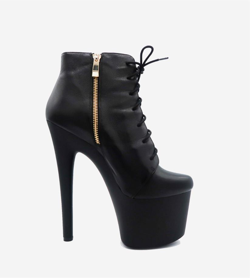 Matte Black King Jane Platform Ankle Boot Image