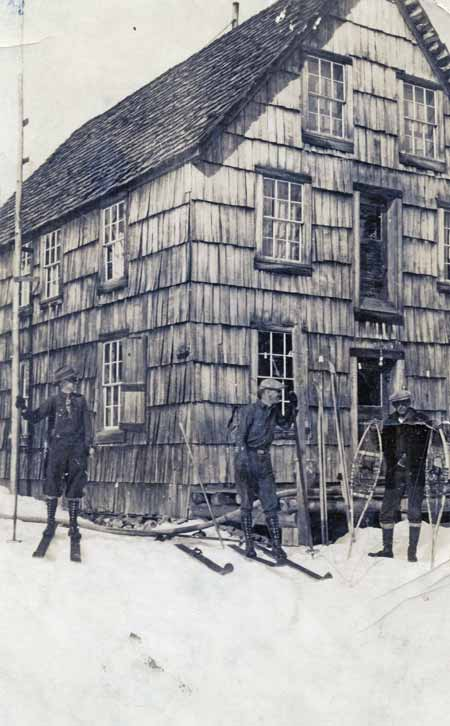 Skiers at the main lodge at Salmon Lake in the 1920's.
