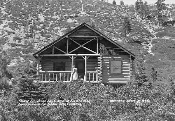 One of the log cabins at Sardine Lake Lodge in 1946.