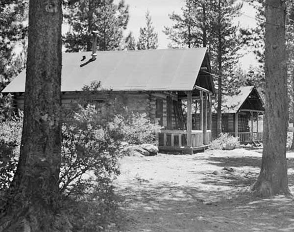 Two of the log cabins facing Sardine Lake in the 1940's.