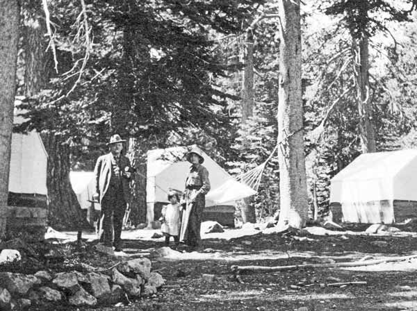 Camp Elwell in the 1920's had forty tent cabins placed around the grounds. Mrs. Drew and daughter Miriam in the photo.