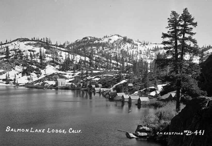 Salmon Lake in the 1940's with many small cabins lining the shore.