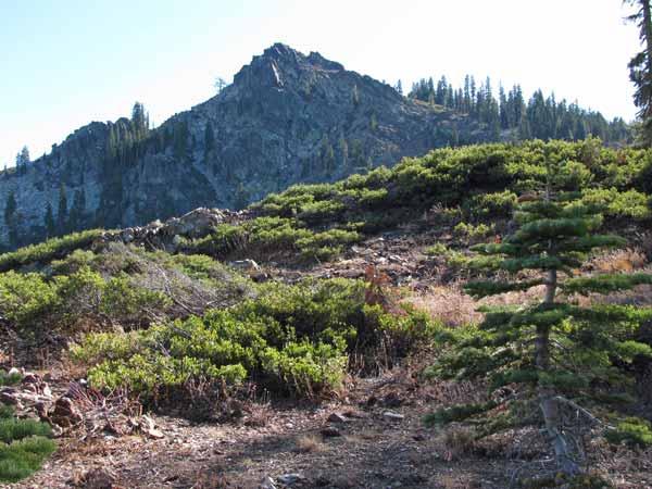 Eureka Peak in the distance. The mountain overlooks the town of Johnsville.