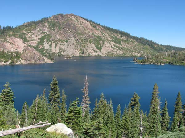 A view of the 7818 foot Mt. Elwell mountain with Long Lake at its base. Guests can fish from our rowboats and visit some islands on the lake.