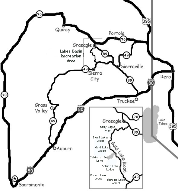 The Lakes Basin Recreation Area is a forested area filled with lakes, mountains and trails near small towns.