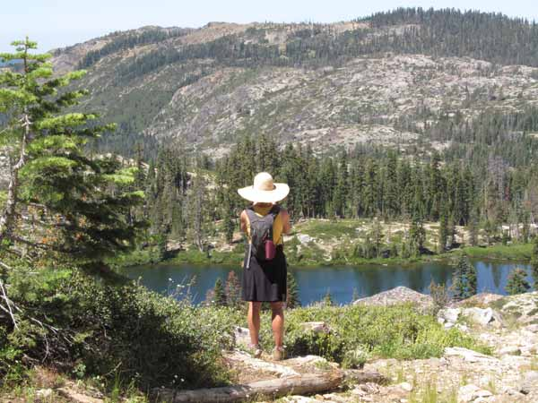 Overlooking Snake Lake. Trails view many small lakes in the Lakes Basin.