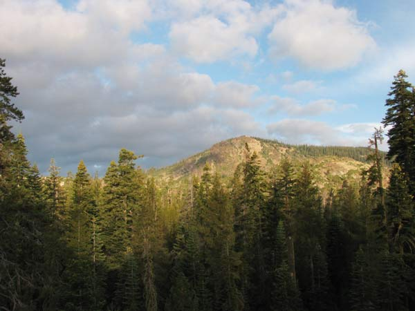 Daytime view of Mt. Elwell from the Dining Room porch. Long Lake is at the base of the Mountain.