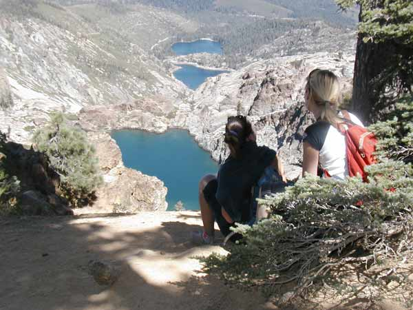 A view from the Sierra Buttes trail which looks down on Upper and Lower Sardine Lakes and Young America Lake.