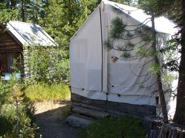 There used to be forty tent cabins on the grounds of Elwell Lakes Lodge before wood cabins were built.
