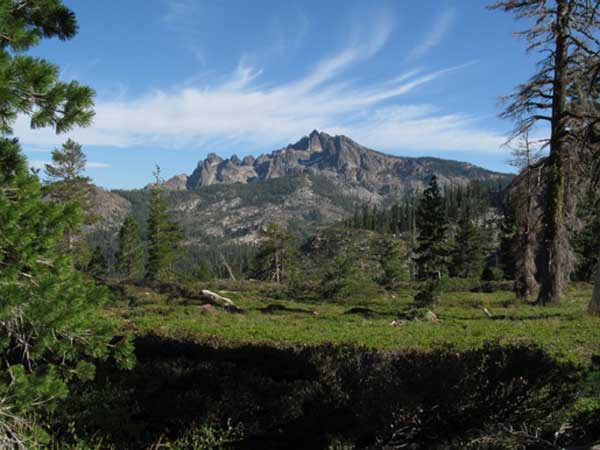View of the jagged peak of the Sierra Buttes from the trail to Deer Lake.