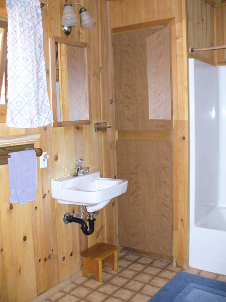 Childs Cabin bathroom has an accessible sink, shower with tub, and a toilet in a very large room with wood paneled walls.